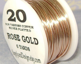 20 Gauge Rose Gold Non Tarnish Permanently Colored Enameled Wire, 18 Feet