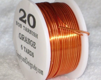 20 Gauge Outrageous Orange Non Tarnish Permanently Colored Enameled Wire, 18 Feet