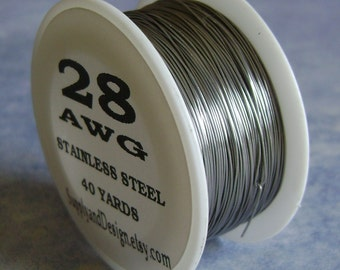 28 Gauge BARE Stainless Steel Wire, 120 Feet