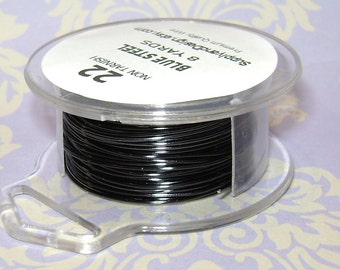 22 Gauge Blue Steel Non Tarnish Permanently Colored Enameled Wire, 24 Feet