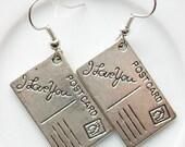 postcard earrings - I love you postcard earrings - love earrings - i love you - closing shop, please min. order 10 usd