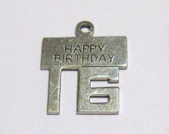Vintage Sterling Silver Happy Birthday 16 Charm