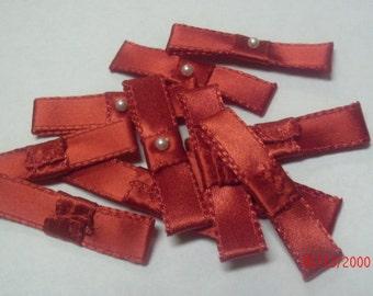 12 Satin Ribbon Bow Rosettes Maroon w/ BEAD srr001