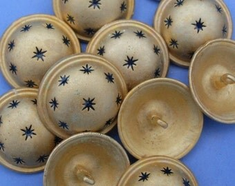 Button Gold with Navy Stars Metal with Metal Shank Size 40L 10Pack bgns0004