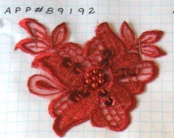 Red Embroided Beaded and Sequined Patch Applique BSA89192