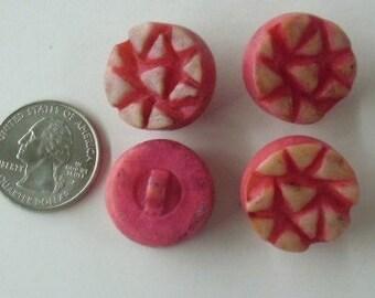 Lot of 4 Unique Vintage Button Plastic Red bv003