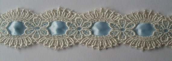 Venice Lace Ivory Beading with Light Blue Ribbon Trim 1 inches by the Yards V2727