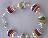 Mykonos Ceramc Bead Bracelet with Sterling Silver
