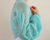 Womens Sweater Cardigan Jacket Shrug Bolero Bridal Shrug Hand Knit Aqua Blue Cable Mohair