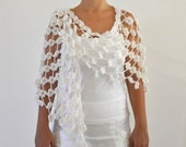 White Flowers Mohair  Shawl - Bridal Shawl For Brides and Bridesmaids
