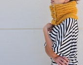Chunky Cowl Scarf Neckwarmer with Buttons Mustard Big Warm Cozy Unisex Hand Knit Winter Accessories Winter Fashion
