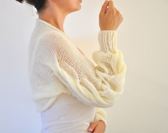 Shrug Bolero Bridal Shrug Long Sleeved Ivory Cream Bridal Accessories Elegant Wedding