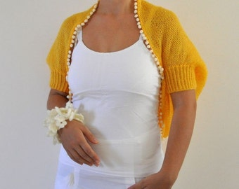 Yellow Mohair Shrug Bolero Bridal Shrug Wedding Jacket Hand Knit