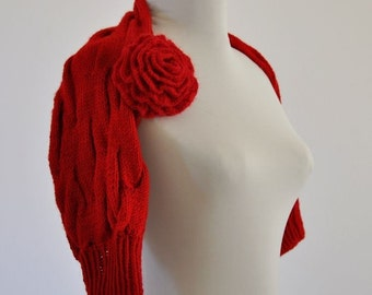 Red Shrug Bolero Bridal Shrug Wedding Jacket Cardigan Sweater Elegant Handmade MADE TO ORDER