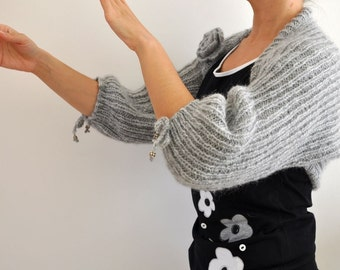 Gray Sweater Cardigan Shrug Bolero Cozy Warm Hand Knit Grey Silver
