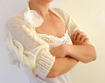 Ivory Wedding Bolero Jacket Bridal Shrug Cable Mohair Shrug Bolero Hand Knit Brides Bridesmaids