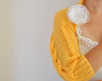 Shrug Bolero Bridal Shrug Women Sweater Cardigan Jacket Hand Knit Mustard Mohair
