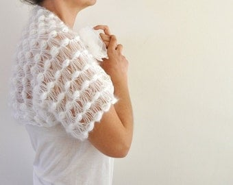 White Mohair Shrug Bolero Wedding Bolero Dreamy Soft Delicate Bridal Accessories
