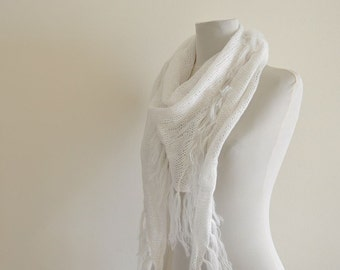 White Scarf Shawl Cowl with Fringe Hand Knit Triangle Soft Pure Snow Blanc Weddings Bridal Accessories