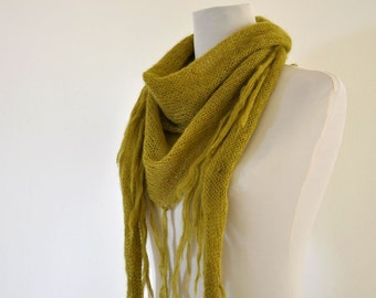 Green Scarf Cowl Fringe Scarf Triangle Delicate Soft Olive Kiwi Leaf Moss Forest Lime Emerald Peridote Autumn Accessories Fall Fashion