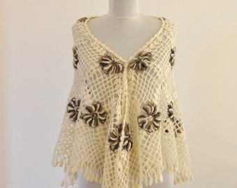 Crochet Shawl Stole Wrap Ivory Brown Mohair Triangular Gift for Her Winter Accessories