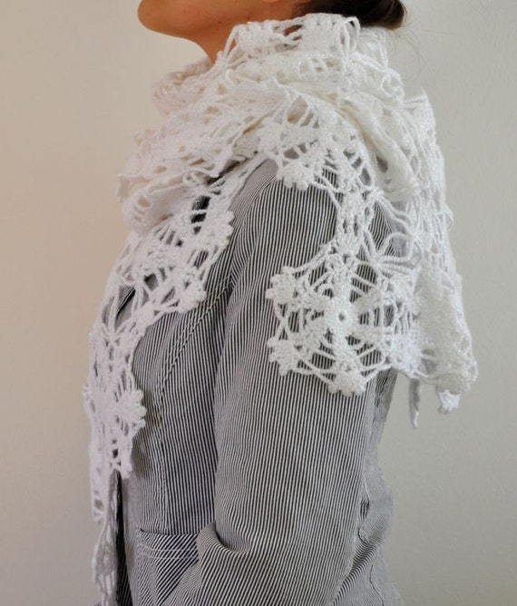White Crochet Shawl Scarf Elegant Chic Mohair Gift for Her SALE was 80 USD now 65 USD