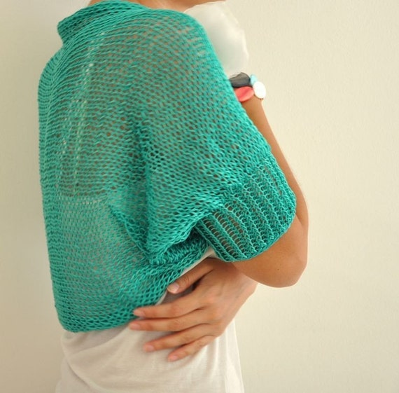 Made to Order Handmade Eco Friendly Green Cotton Spring Summer Shrug / Bolero - Bridal Shrug