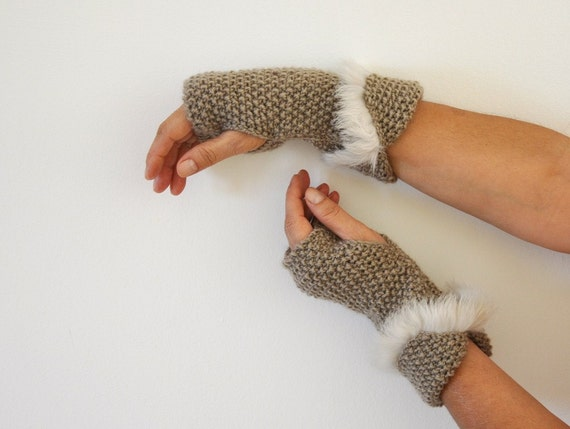 Brown Fingerless Gloves Wrist Warmers Wool with Fur Hand Knit Winter Accessories Winter Fashion Cute Delicate Gift For Her