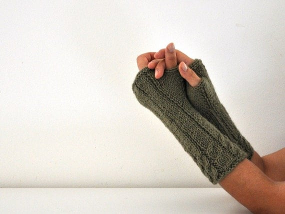 Long Fingerless Gloves Armwarmers Sage Green Hand Knit Winter Accessories Winter Fashion