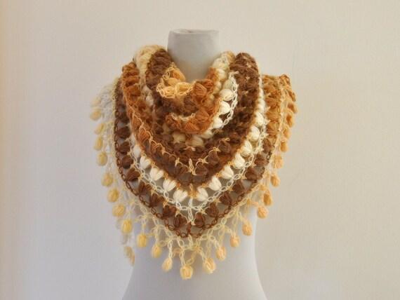 Crochet Shawl Ivory Bridal Shawl Wedding Stole Wrap Mohair Cream Brown Beige Shades