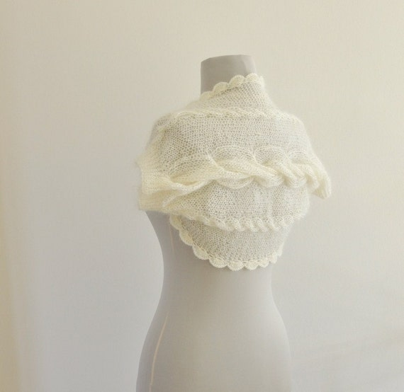 Ivory Shrug Bolero Bridal Shrug Mohair Romantic Elegant Delicate Soft