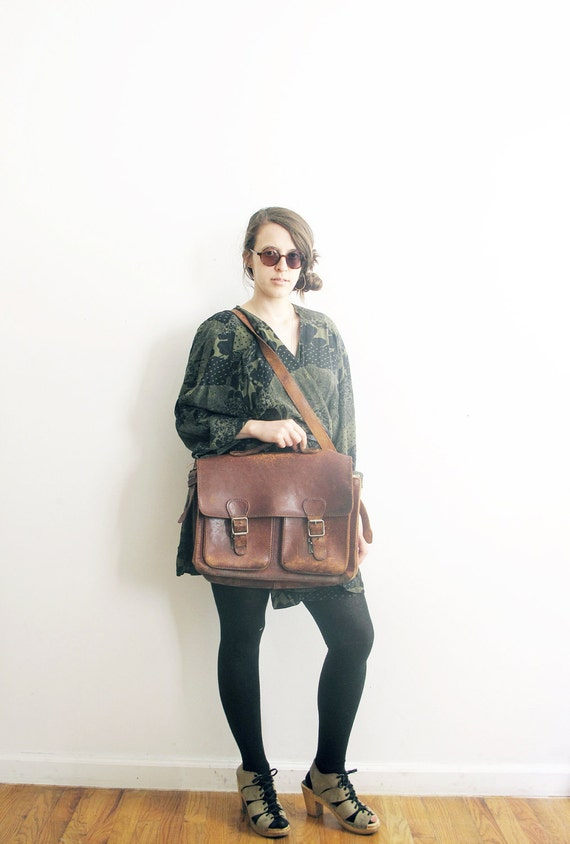 Distressed Leather Satchel.