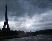 Paris Photography, Eiffel Tower Print, Paris Dreamy Blue Starry Moonlit Night, Starry Blue Paris Night Photos, Fine Art Paris Photography