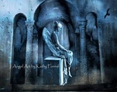 Angel Photography, Sad Mourning Angel, Ethereal Angel Art Photo, Lost Love Sad Angel Art, Blue Gothic Angel Art, Fine Art Angel Photography