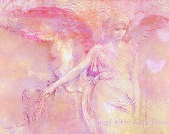 Angel Photography, Dreamy Angel Prints, Pink Angel Wall Art Decor, Ethereal Angel Wings Art Prints, Pink Baby Girl Nursery Art, Angel Photos