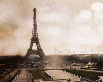 CLEARANCE SALE Paris Photography, Paris Prints, Eiffel Tower Landscape Photo, Eiffel Tower Sepia, Classic Paris Eiffel Tower Photograph