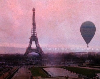Paris Photography, Pink Eiffel Tower Balloon Print, Paris Pink Prints, Paris Hot Air Balloons, Eiffel Tower Prints, Paris Baby Girl Nursery