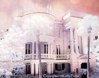 Charleston Photography, Romantic Pink Victorian Home, Dreamy Pink White Charleston Mansion, Charleston South Carolina Historical Mansion Art