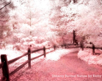 Nature Photography, Dreamy Ethereal Pink Trees, Dreamy Baby Girl Nursery Pink Trees, Fantasy Nature Trees, Pink Fairytale Nature Path Trees
