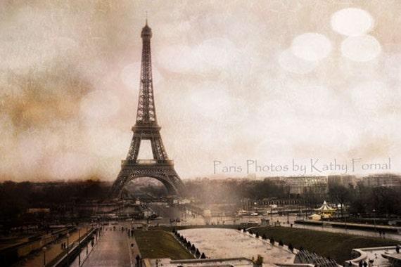 """Paris Landscape Photography - Dreamy Paris Prints, Eiffel Tower Sepia Photos, Fine Art Paris Photographs 5"""" x 7"""""""