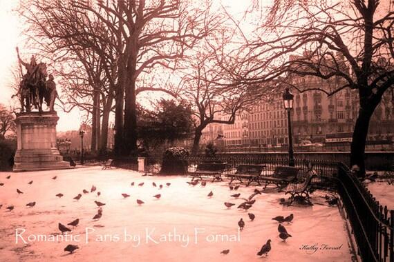 """75% OFF SALE Paris Photography, Notre Dame Cathedral Courtyard, Paris Prints, Paris Dreamy Landscape, Paris Fine Art Photograph 8"""" x 12"""""""