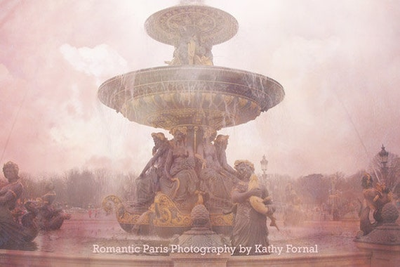 Paris Photography, Paris Place Concorde Fountain, Paris Pink Art Prints, Paris Wall Decor, Romantic Paris Prints, Pink Paris Prints Wall Art