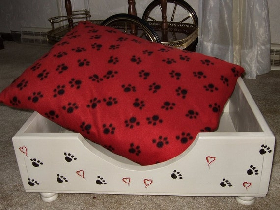 Dog or Cat Bed With Pillow, Wood, Handmade