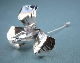 Wild Iris Pin - Sterling Silver Wildflower Pin