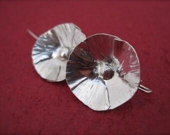Wild Poppy Earrings - Hand-Forged Sterling Silver Flower Earrings