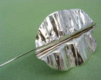 Single Leaf Bookmark - Sterling Silver Botanical Bookmark
