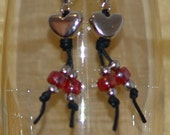Black and red with silver hearts lightweight earrings, reclaimed components