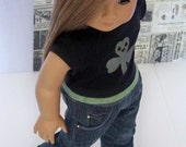 St. Patty: Perfectly Piper Designer Jeans and Silk Screened Shamrock T-shirt for American Girl Doll
