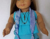 Magical Trend:  Skinny Jeans, Ruffled Tank, Knotted Scarf, Layered necklace for American Girl Doll