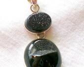 Sterling Silver Handmade Black Druzy Pendant